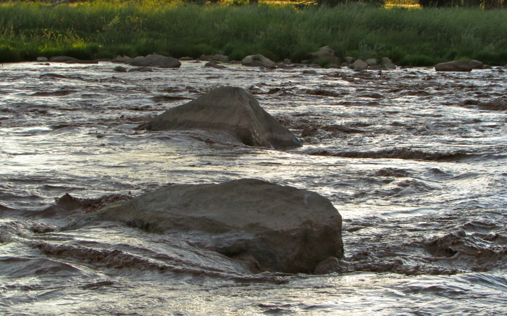 Depending on what time of year and the water level, rocks may be exposed or completely covered